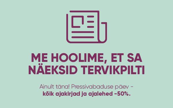 Ainult täna, 03.05, leiad pressivabaduse päeva puhul R-Kioski väikepoodidest kõik ajakirjad ja ajalehed -50% ALLAHINDLUSEGA!